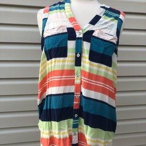 Maeve sleeveless striped button up top